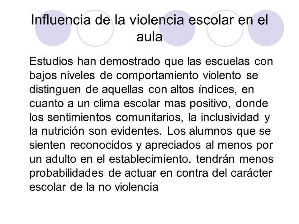 Influencia de la violencia escolar en el aula Estudios han demostrado que las escuelas con bajos niveles de comportamiento violento se distinguen de a