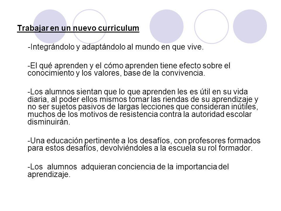 Trabajar en un nuevo curriculum -Integrándolo y adaptándolo al mundo en que vive. -El qué aprenden y el cómo aprenden tiene efecto sobre el conocimien