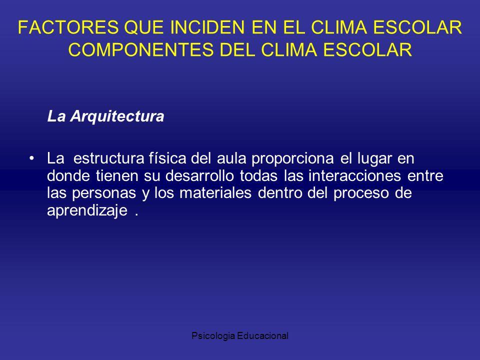 Psicologia Educacional La Arquitectura La estructura física del aula proporciona el lugar en donde tienen su desarrollo todas las interacciones entre