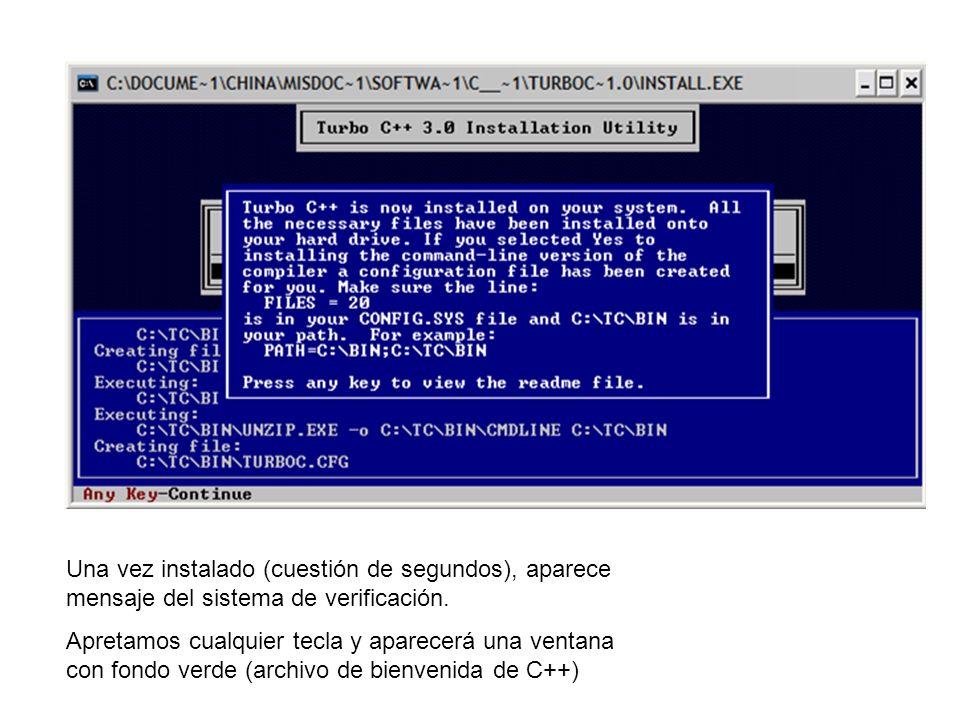 Una vez instalado (cuestión de segundos), aparece mensaje del sistema de verificación.