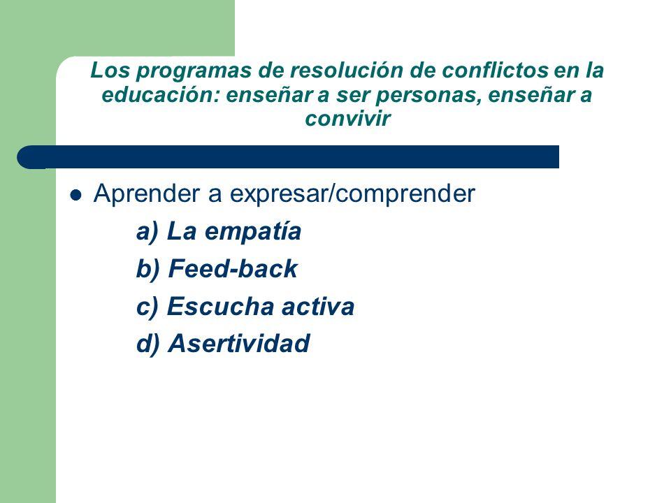 Los programas de resolución de conflictos en la educación: enseñar a ser personas, enseñar a convivir Aprender a expresar/comprender a) La empatía b)