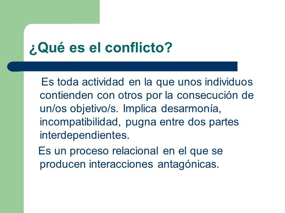 ¿Qué es el conflicto? Es toda actividad en la que unos individuos contienden con otros por la consecución de un/os objetivo/s. Implica desarmonía, inc
