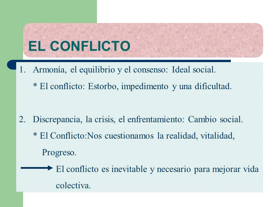 EL CONFLICTO 1.Armonía, el equilibrio y el consenso: Ideal social. * El conflicto: Estorbo, impedimento y una dificultad. 2. Discrepancia, la crisis,