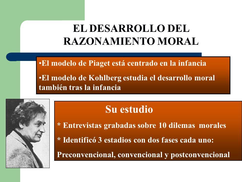 EL DESARROLLO DEL RAZONAMIENTO MORAL El modelo de Piaget está centrado en la infancia El modelo de Kohlberg estudia el desarrollo moral también tras l