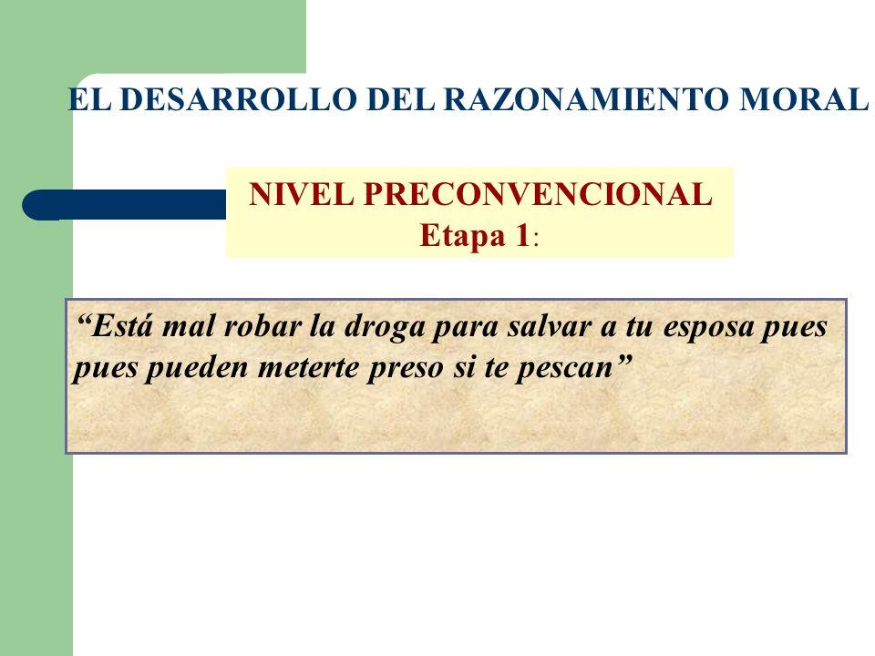 EL DESARROLLO DEL RAZONAMIENTO MORAL NIVEL PRECONVENCIONAL Etapa 1 : Está mal robar la droga para salvar a tu esposa pues pues pueden meterte preso si