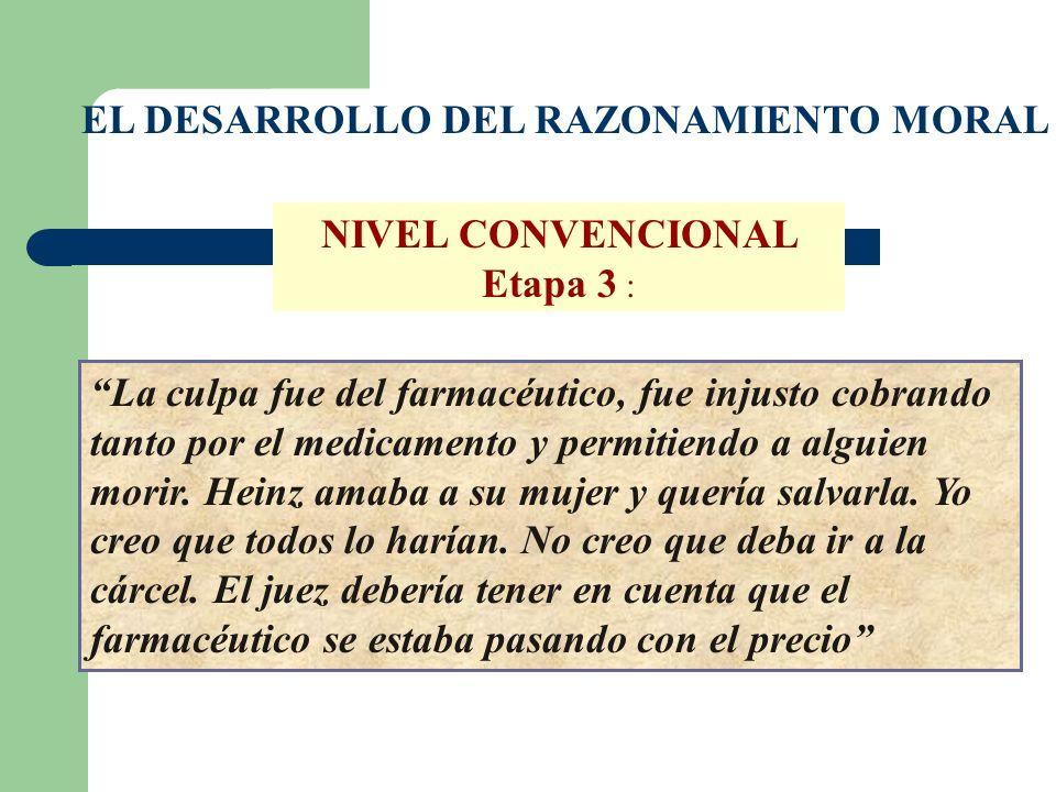 EL DESARROLLO DEL RAZONAMIENTO MORAL NIVEL CONVENCIONAL Etapa 3 : La culpa fue del farmacéutico, fue injusto cobrando tanto por el medicamento y permi