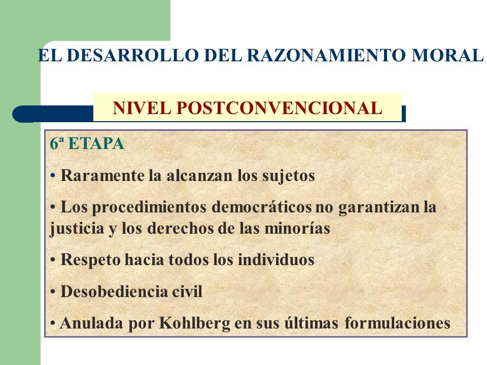 EL DESARROLLO DEL RAZONAMIENTO MORAL NIVEL POSTCONVENCIONAL 6ª ETAPA Raramente la alcanzan los sujetos Los procedimientos democráticos no garantizan l