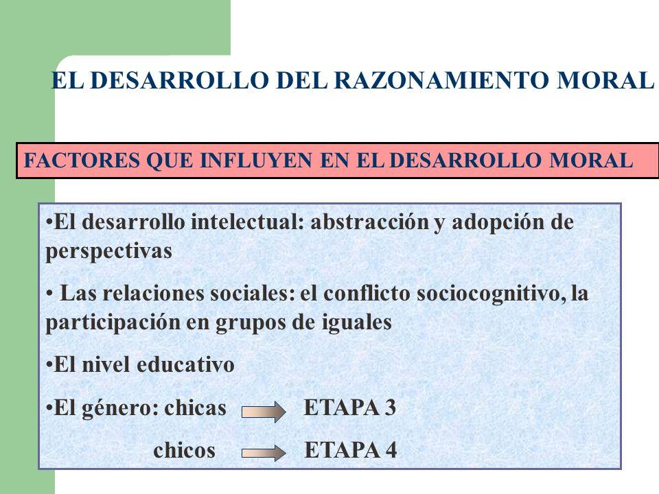 EL DESARROLLO DEL RAZONAMIENTO MORAL FACTORES QUE INFLUYEN EN EL DESARROLLO MORAL El desarrollo intelectual: abstracción y adopción de perspectivas La