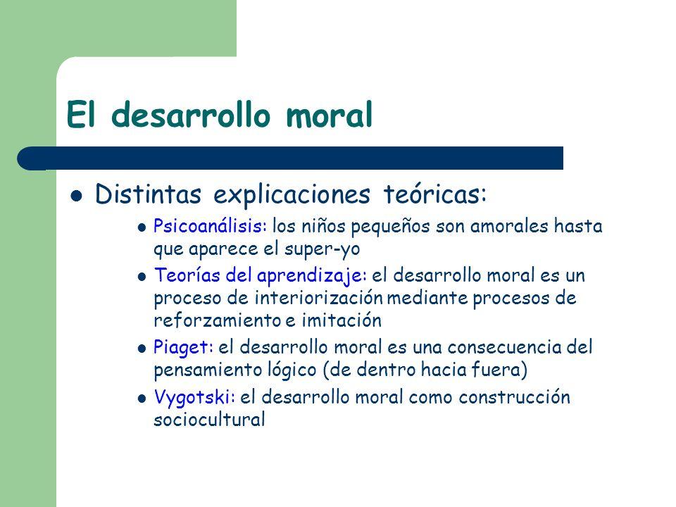 El desarrollo moral Distintas explicaciones teóricas: Psicoanálisis: los niños pequeños son amorales hasta que aparece el super-yo Teorías del aprendi
