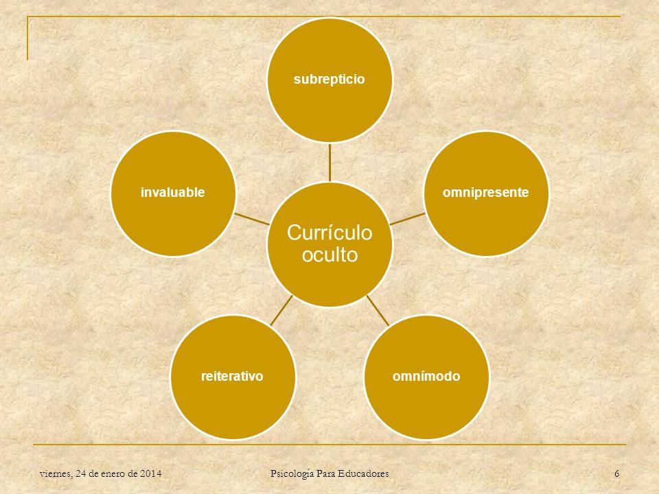 Currículo oculto subrepticioomnipresenteomnímodoreiterativoinvaluable viernes, 24 de enero de 2014 Psicología Para Educadores 6