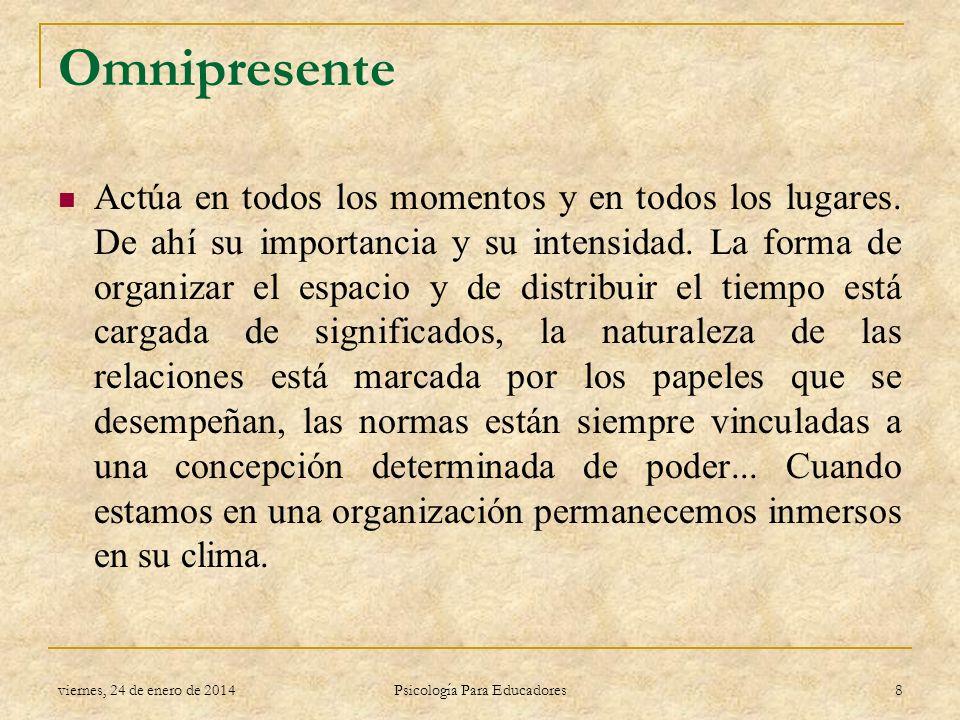 Omnipresente Actúa en todos los momentos y en todos los lugares. De ahí su importancia y su intensidad. La forma de organizar el espacio y de distribu
