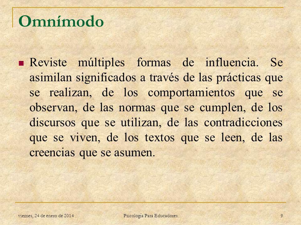 Omnímodo Reviste múltiples formas de influencia. Se asimilan significados a través de las prácticas que se realizan, de los comportamientos que se obs
