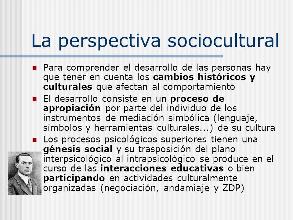 La perspectiva sociocultural Para comprender el desarrollo de las personas hay que tener en cuenta los cambios históricos y culturales que afectan al