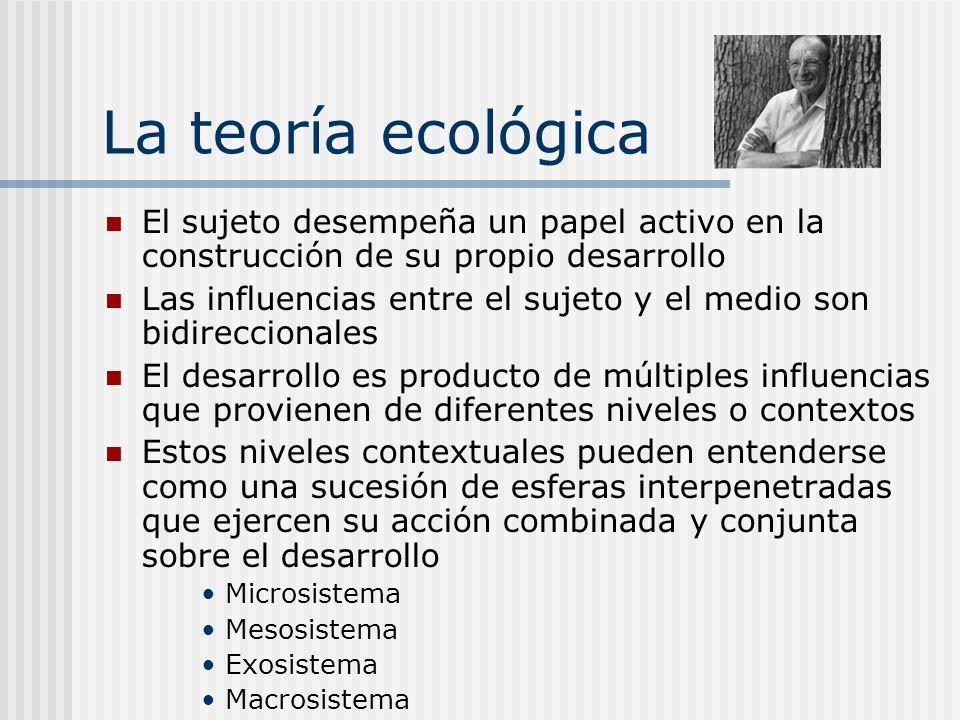 La teoría ecológica El sujeto desempeña un papel activo en la construcción de su propio desarrollo Las influencias entre el sujeto y el medio son bidi
