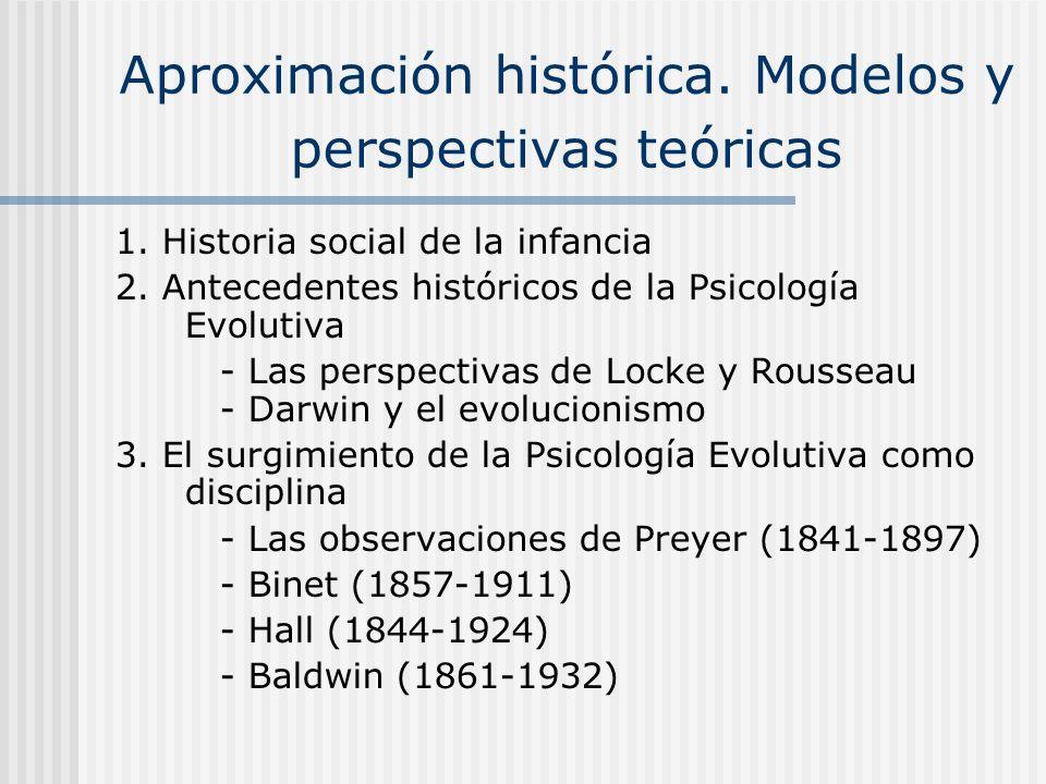 Aproximación histórica. Modelos y perspectivas teóricas 1. Historia social de la infancia 2. Antecedentes históricos de la Psicología Evolutiva - Las