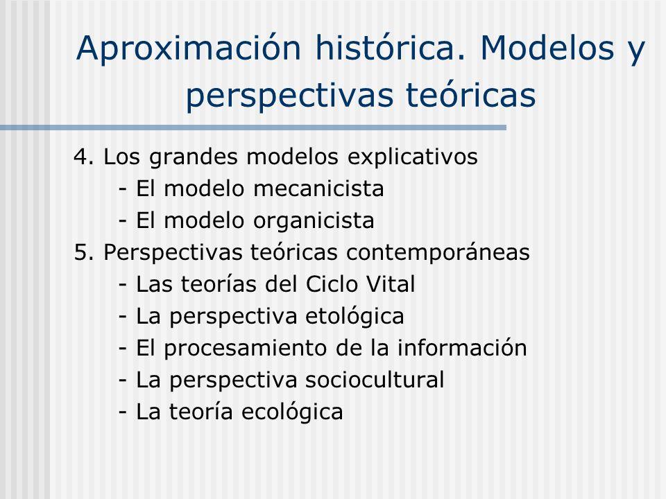 Aproximación histórica. Modelos y perspectivas teóricas 4. Los grandes modelos explicativos - El modelo mecanicista - El modelo organicista 5. Perspec