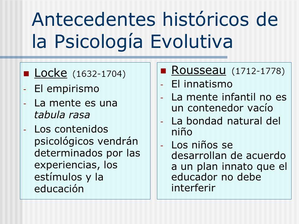 Antecedentes históricos de la Psicología Evolutiva Locke (1632-1704) - El empirismo - La mente es una tabula rasa - Los contenidos psicológicos vendrá
