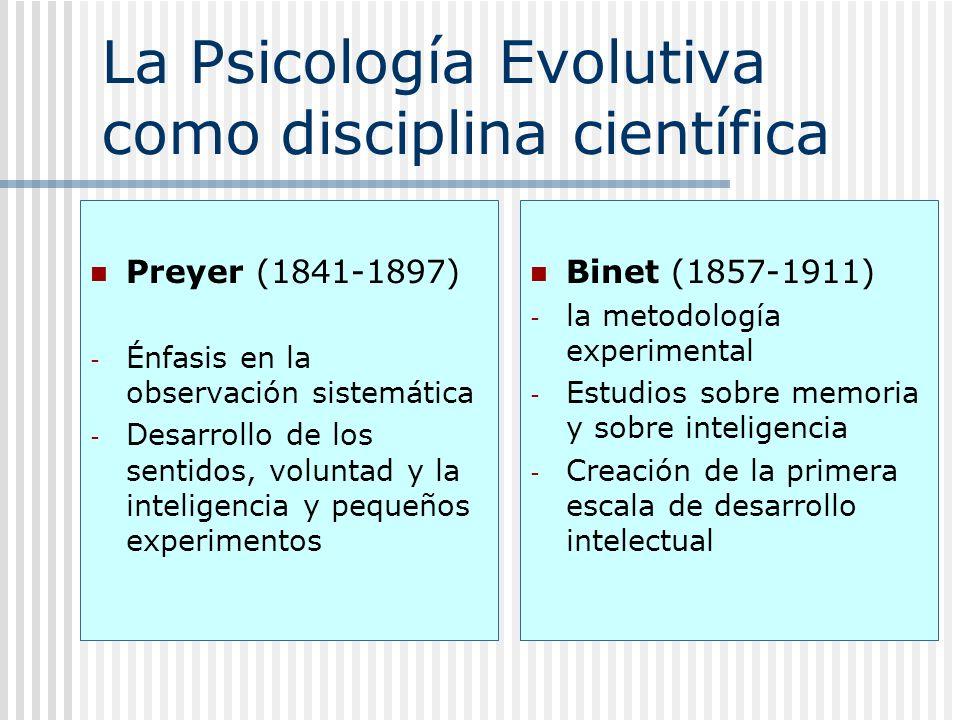 La Psicología Evolutiva como disciplina científica Preyer (1841-1897) - Énfasis en la observación sistemática - Desarrollo de los sentidos, voluntad y