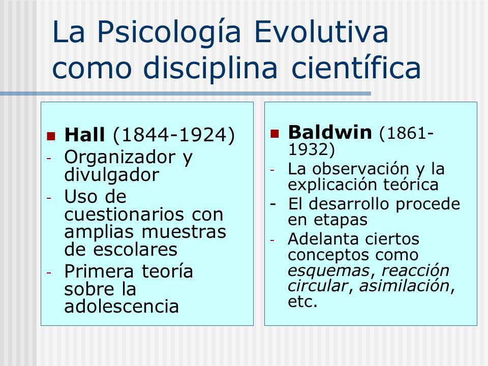 La Psicología Evolutiva como disciplina científica Hall (1844-1924) - Organizador y divulgador - Uso de cuestionarios con amplias muestras de escolare