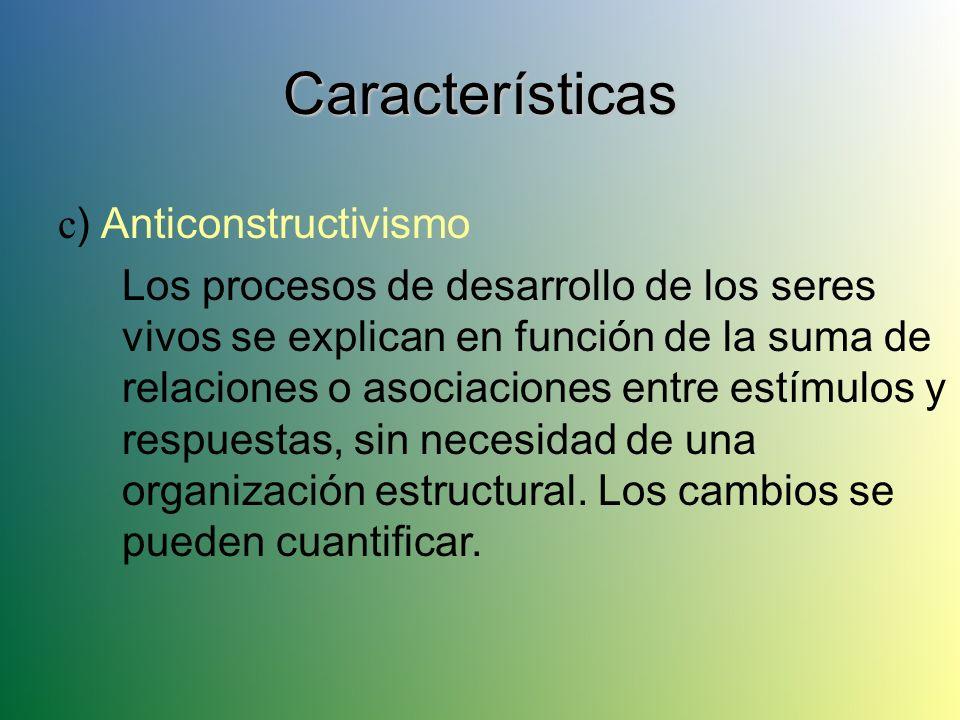 Características a ) Ambientalismo El medio ambiente físico y social determina el comportamiento de los seres vivos. b ) Asociacionalismo Uso de leyes