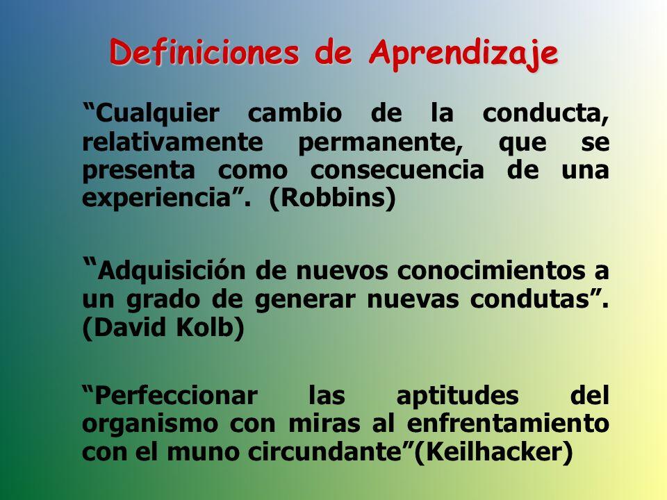 Cualquier cambio de la conducta, relativamente permanente, que se presenta como consecuencia de una experiencia.