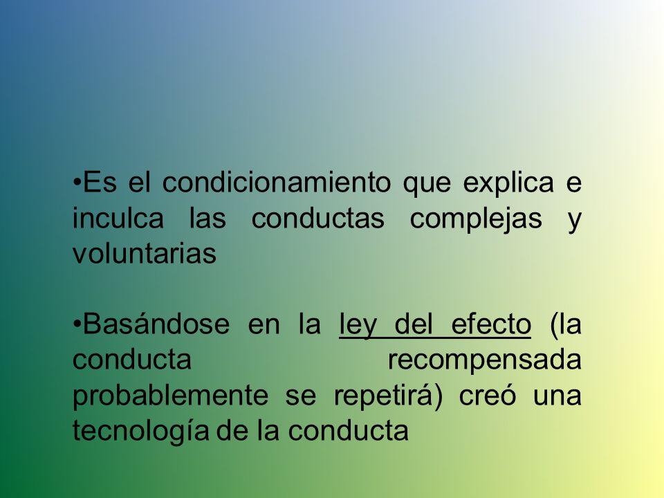 Condicionamiento Operante Aprendizaje en el que una respuesta voluntaria se fortalece o debilita, según las consecuencias que el individuo reciba al e