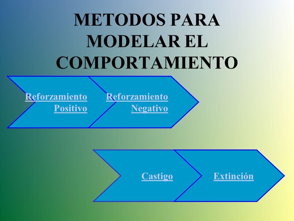 MODELAMIENTO Cuando pretendemos formar a los individuos conduciendo gradualmente su aprendizaje, se dice que modelamos su conducta... Para modelar la