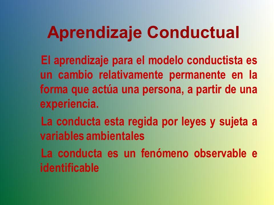 Aprendizaje Conductual El aprendizaje para el modelo conductista es un cambio relativamente permanente en la forma que actúa una persona, a partir de una experiencia.
