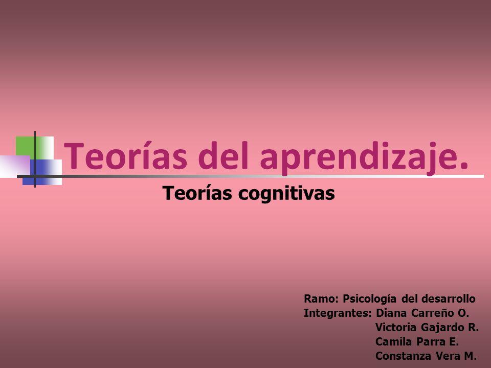 Teorías del aprendizaje. Ramo: Psicología del desarrollo Integrantes: Diana Carreño O. Victoria Gajardo R. Camila Parra E. Constanza Vera M. Teorías c