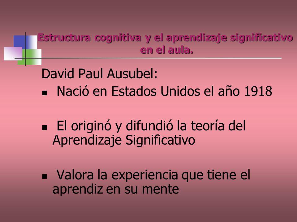 Estructura cognitiva y el aprendizaje significativo en el aula. David Paul Ausubel: Nació en Estados Unidos el año 1918 El originó y difundió la teorí