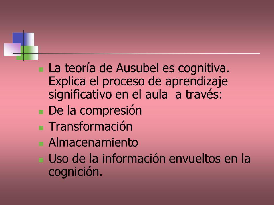 La teoría de Ausubel es cognitiva. Explica el proceso de aprendizaje significativo en el aula a través: De la compresión Transformación Almacenamiento