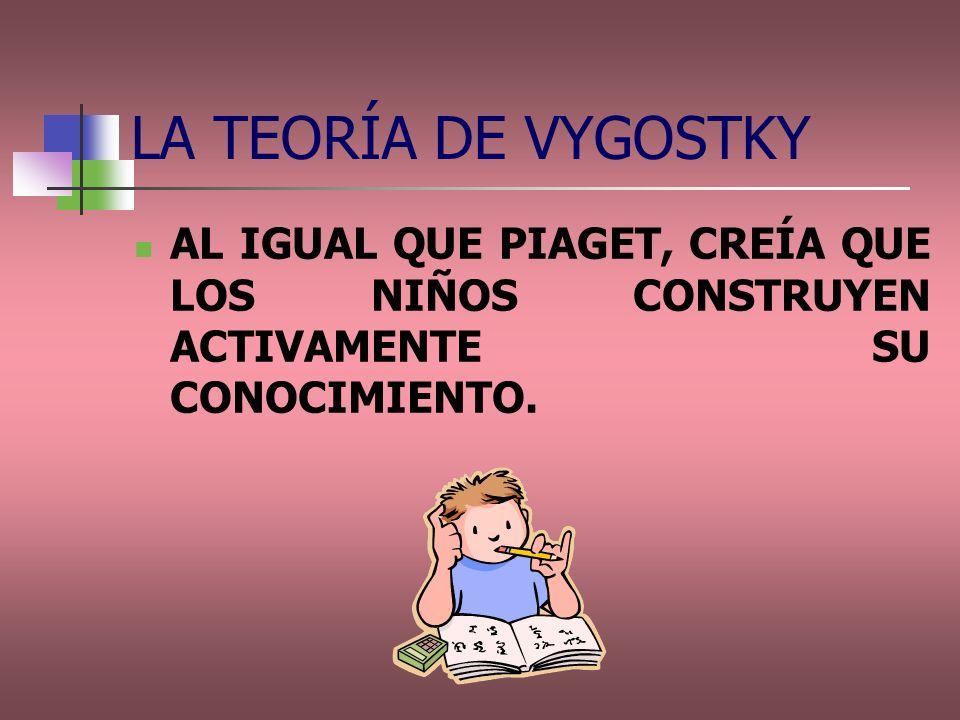 AL IGUAL QUE PIAGET, CREÍA QUE LOS NIÑOS CONSTRUYEN ACTIVAMENTE SU CONOCIMIENTO. LA TEORÍA DE VYGOSTKY