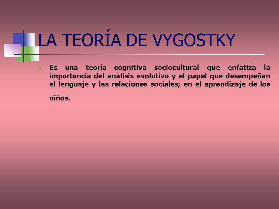 Es una teoría cognitiva sociocultural que enfatiza la importancia del análisis evolutivo y el papel que desempeñan el lenguaje y las relaciones social
