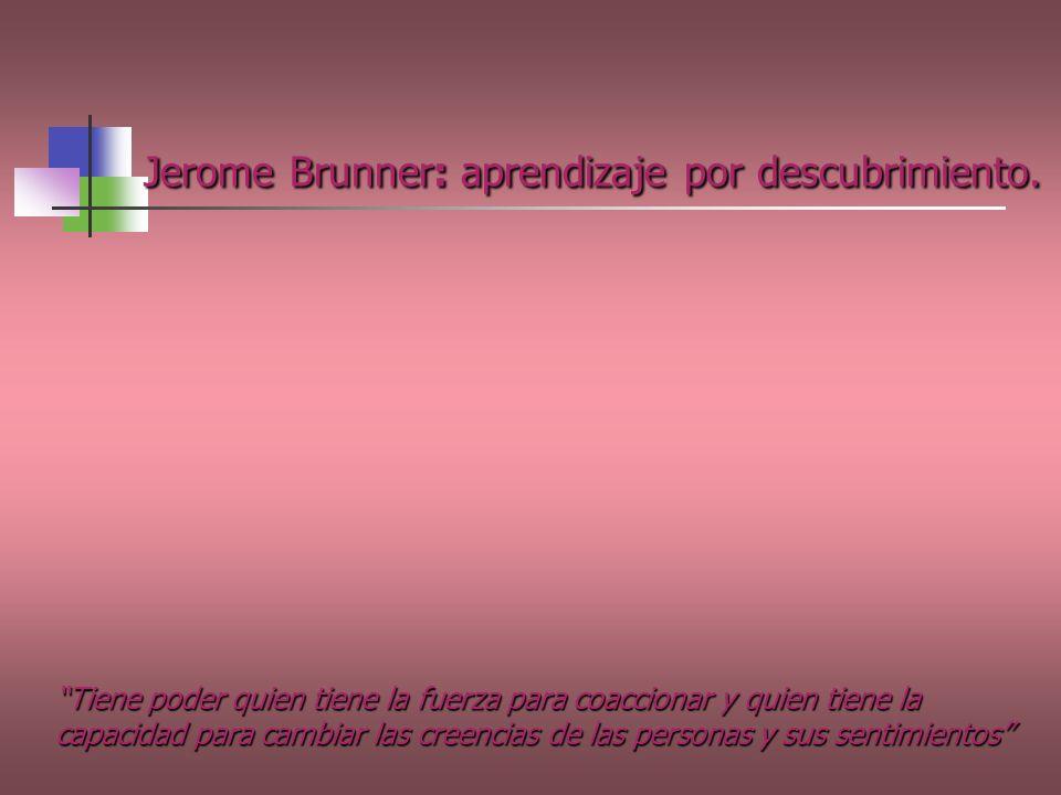 Jerome Brunner: aprendizaje por descubrimiento. Tiene poder quien tiene la fuerza para coaccionar y quien tiene la capacidad para cambiar las creencia