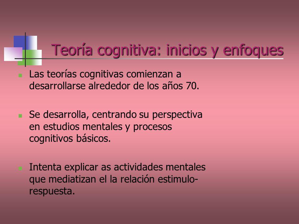 Teoría cognitiva: inicios y enfoques Las teorías cognitivas comienzan a desarrollarse alrededor de los años 70. Se desarrolla, centrando su perspectiv