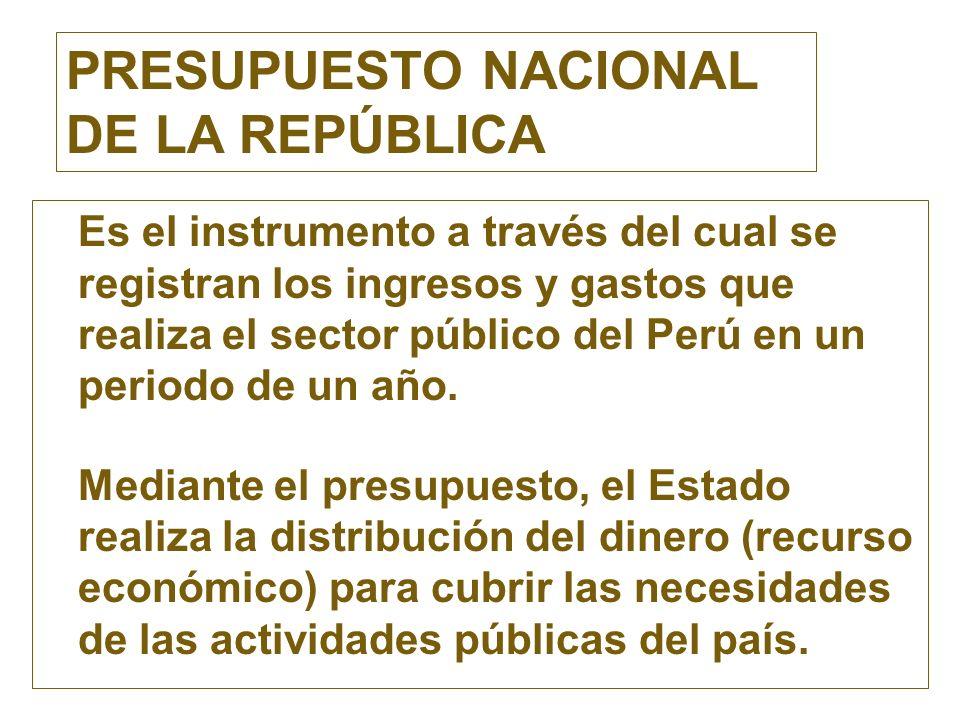 PRESUPUESTO NACIONAL DE LA REPÚBLICA Es el instrumento a través del cual se registran los ingresos y gastos que realiza el sector público del Perú en