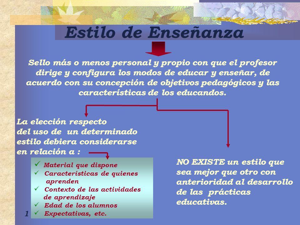 1 Estilo de Enseñanza Sello más o menos personal y propio con que el profesor dirige y configura los modos de educar y enseñar, de acuerdo con su conc