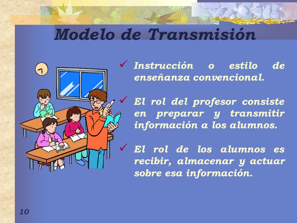 10 Modelo de Transmisión Instrucción o estilo de enseñanza convencional. El rol del profesor consiste en preparar y transmitir información a los alumn