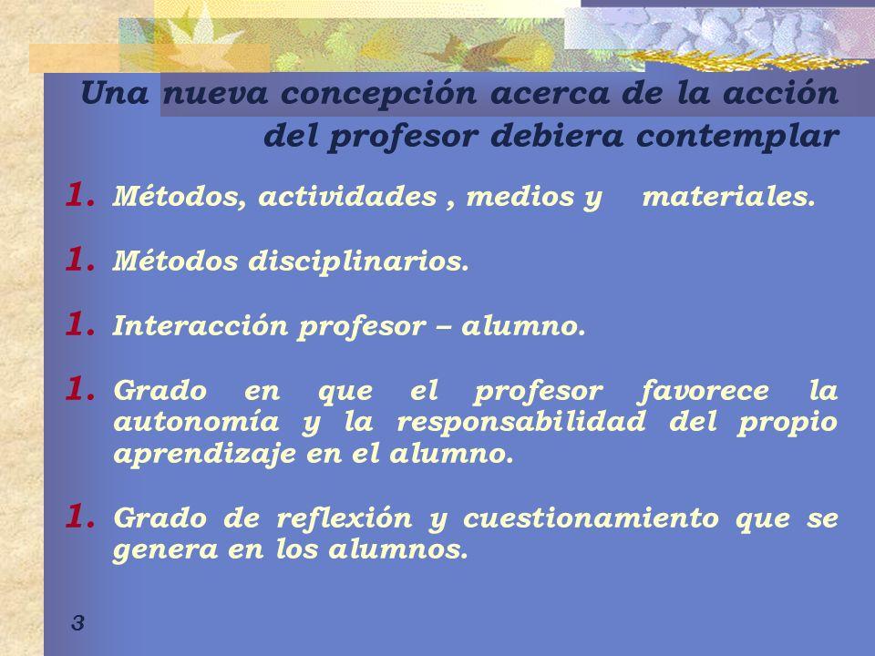 3 Una nueva concepción acerca de la acción del profesor debiera contemplar 1. Métodos, actividades, medios y materiales. 1. Métodos disciplinarios. 1.