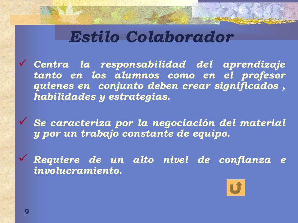 9 Estilo Colaborador Centra la responsabilidad del aprendizaje tanto en los alumnos como en el profesor quienes en conjunto deben crear significados,