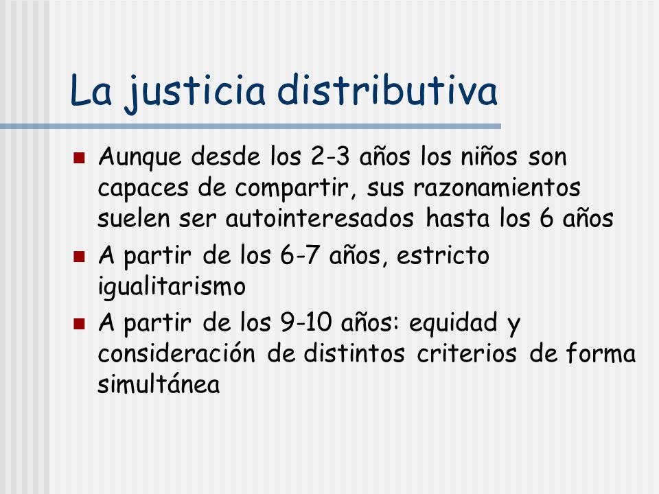 La justicia distributiva Aunque desde los 2-3 años los niños son capaces de compartir, sus razonamientos suelen ser autointeresados hasta los 6 años A