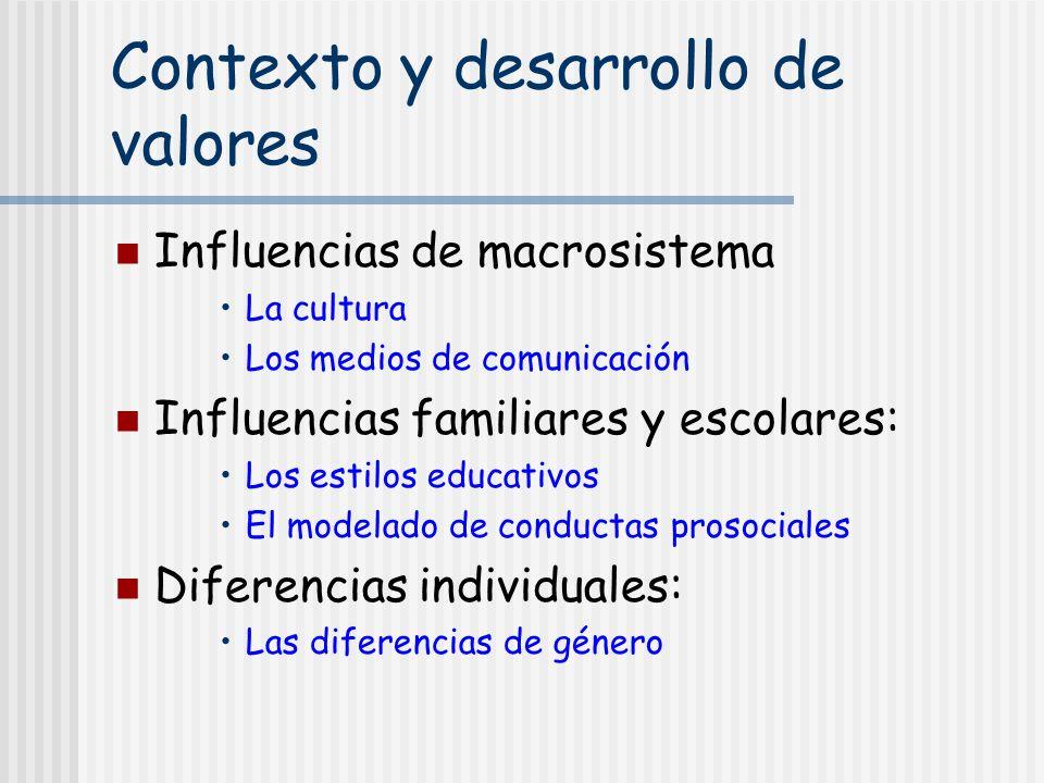 Contexto y desarrollo de valores Influencias de macrosistema La cultura Los medios de comunicación Influencias familiares y escolares: Los estilos edu