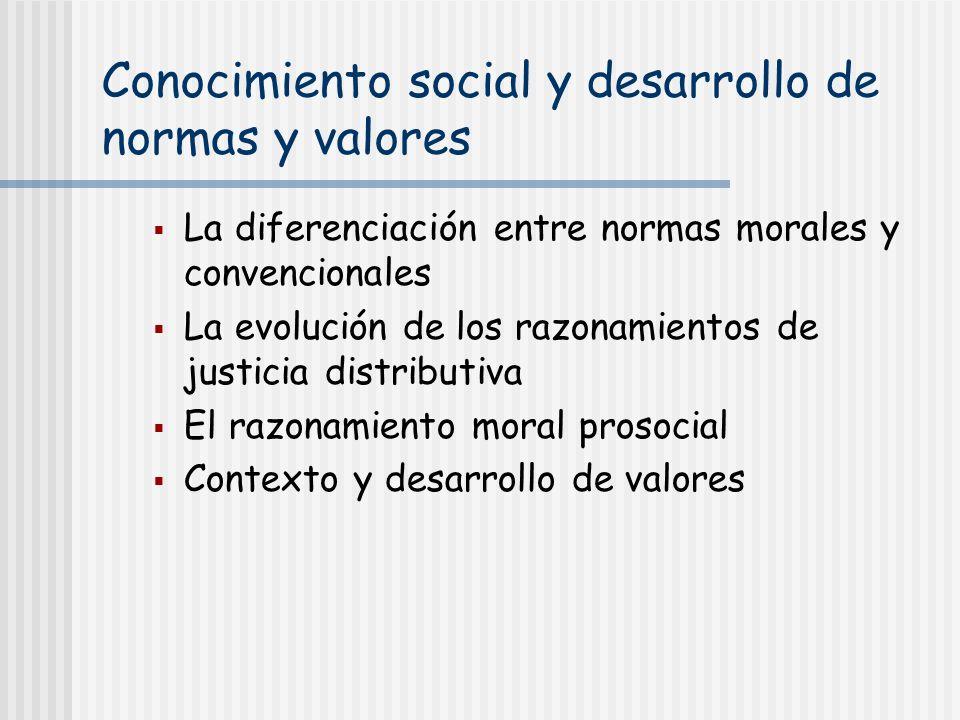 Conocimiento social y desarrollo de normas y valores La diferenciación entre normas morales y convencionales La evolución de los razonamientos de just