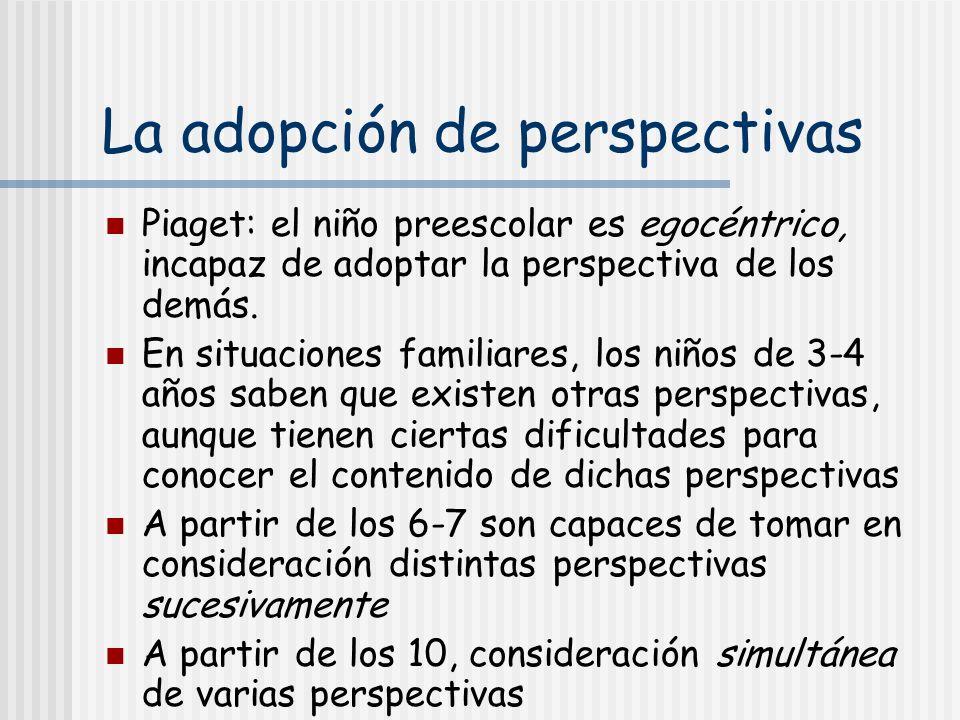 La adopción de perspectivas Piaget: el niño preescolar es egocéntrico, incapaz de adoptar la perspectiva de los demás. En situaciones familiares, los