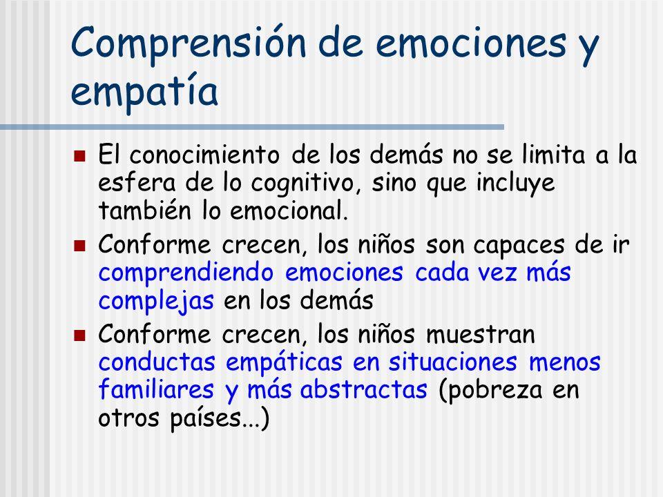 Comprensión de emociones y empatía El conocimiento de los demás no se limita a la esfera de lo cognitivo, sino que incluye también lo emocional. Confo