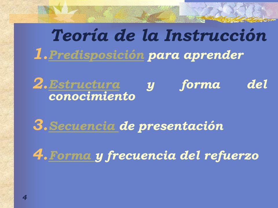 4 Teoría de la Instrucción 1.Predisposición para aprender Predisposición 2.
