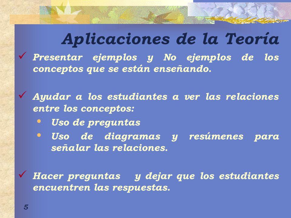 5 Aplicaciones de la Teoría Presentar ejemplos y No ejemplos de los conceptos que se están enseñando.
