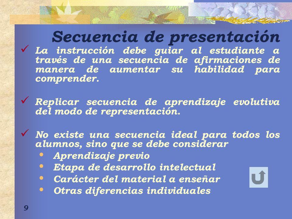 9 Secuencia de presentación La instrucción debe guiar al estudiante a través de una secuencia de afirmaciones de manera de aumentar su habilidad para comprender.