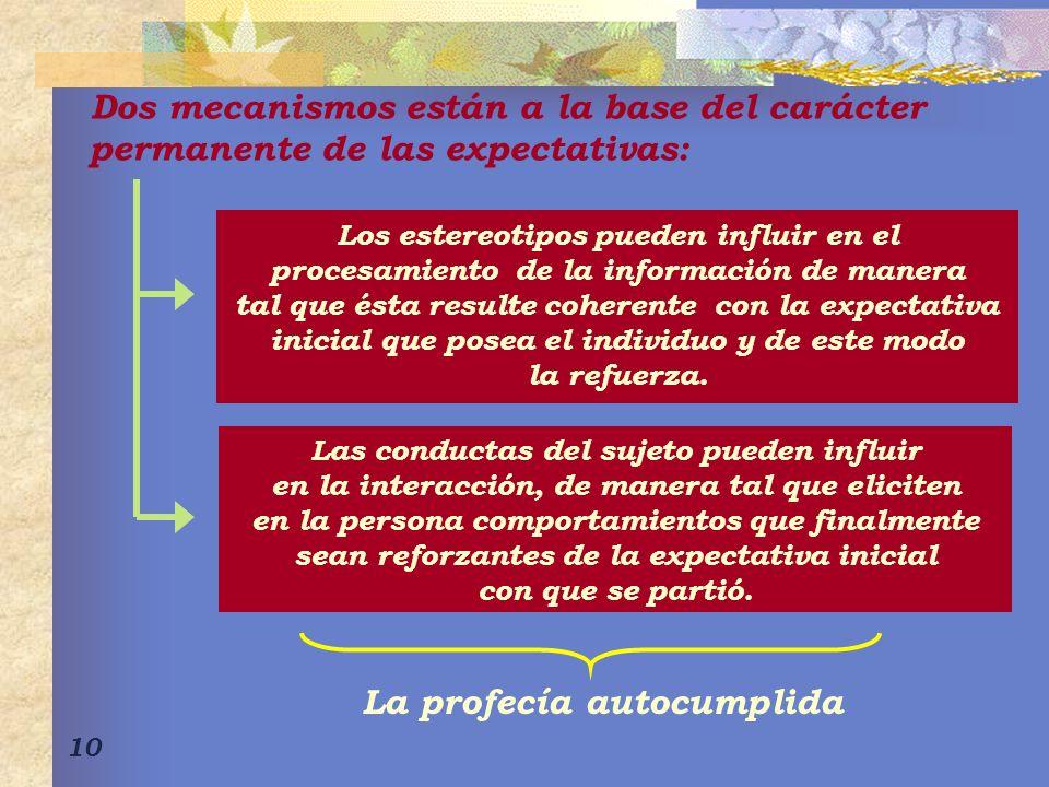 10 Dos mecanismos están a la base del carácter permanente de las expectativas: Los estereotipos pueden influir en el procesamiento de la información d