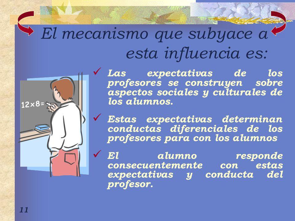 11 El mecanismo que subyace a esta influencia es: Las expectativas de los profesores se construyen sobre aspectos sociales y culturales de los alumnos